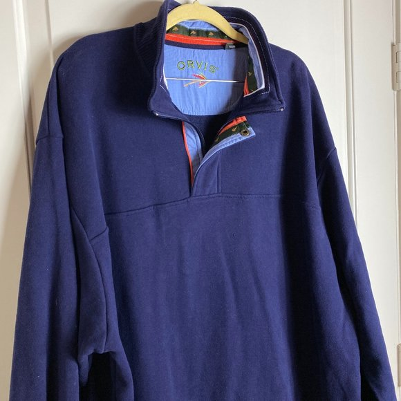 Orvis long Sleeve Navy Pullover Size XXL